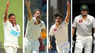 Usman Khawaja, James Pattinson, Mitchell Johnson, Shane Watson