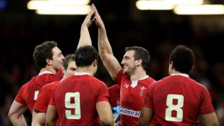 George North and Sam Warburton celebrate following their team's victory during the RBS Six Nations match