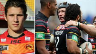 Morgan Escare and Catalans players celebrating