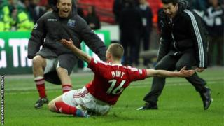 Johnny Hunt celebrates after scoring the winning penalty at Wembley