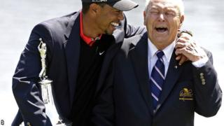 World number one Tiger Woods (left) with tournament host Arnold Palmer