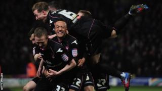 Shane Ferguson and Birmingham team-mates celebrate
