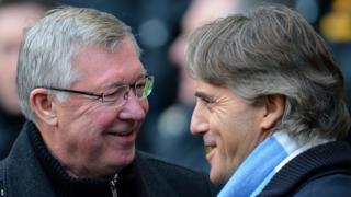 Sir Alex Ferguson (left) and Roberto Mancini