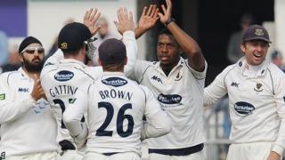 Chris Jordan celebrates a wicket