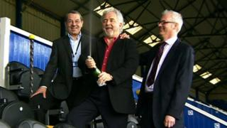Incoming Portsmouth chairman Iain McInnes and Pompey Supporters' Trust officials Ashley Brown and Mick Williams