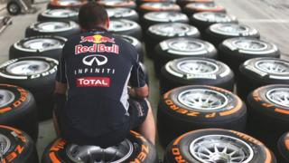 A selection of F1 Tyres