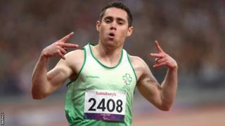 Jason Smyth celebrates after completing the T13 sprint double at last year's London Paralympics