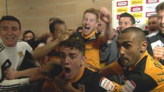 Hull players celebrate promotion