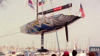 1995: Young America unveil the lead bulb on their keel ahead of the US's America's Cup defence against Sir Peter Blake's Team New Zealand.