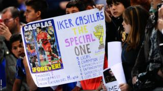 Real Madrid fans show their support for goalkeeper Iker Casillas