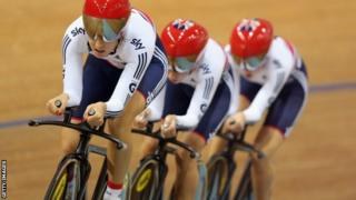 Dani King, Laura Trott and Elinor Barker celebrate winning the Women's Team Pursuit at the Track World Championships