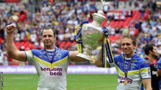 Warrington skipper Adrian Morley and Lance Todd Trophy winner Brett Hodgson pose with the Challenge Cup after their Wembley win over Leeds in 2012