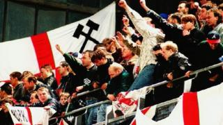 England fans during the friendly match between the Republic of Ireland and England at Lansdowne Road in 1995.