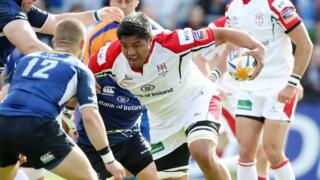 Ulster number eight Nick Williams prepares to charge at the Leinster defence