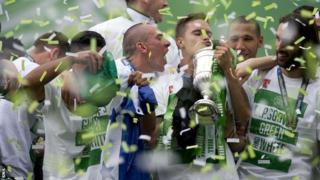 Celtic players celebrate