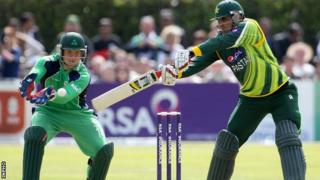 Irish wicket-keeper Gary Wilson prepares to catch the ball as Misbah-ul-Haq attempts a stroke in Sunday's game