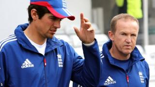 England captain Alastair Cook with England coach Andy Flower