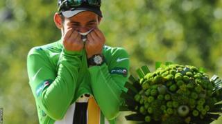 Mark Cavendish with the Tour de France green jersey in 2011