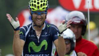 Spain's Alejandro Valverde winning stage 17 of the 2012 Tour de France