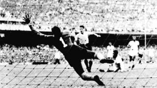 Uruguay score against Brazil in the 1950 World Cup final