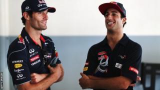 Mark Webber (left) with Daniel Ricciardo
