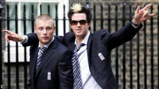 England batsman Kevin Pietersen and Andrew Flintoff