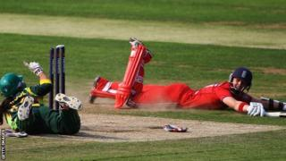 Arran Brindle is run out off the last ball of the second match