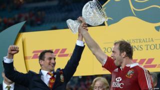 Australia v British and Irish Lions third Test Sam Warburton Alun Wyn Jones trophy