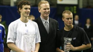 Andy Murray (left) and Lleyton Hewitt