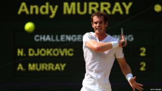 Andy Murray hits a forehand in the Wimbledon final