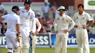 Australia captain Michael Clarke reacts after Stuart Broad is given not out
