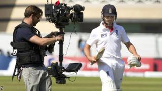Jonathan Trott leaves the field at Trent Bridge after he was given out when key TV evidence was unavailable