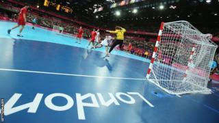 Handball inside Copper Box, London 2012