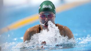 Ruta Meilutyte in action in the 100m breaststroke heats