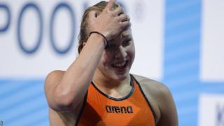Ruta Meilutyte reacts after her new European record