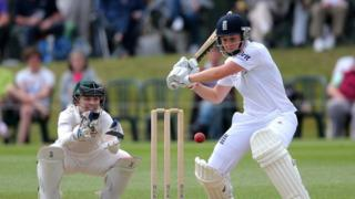 England's Heather Knight hits out watched by Australia wicketkeeper Jodie Fields
