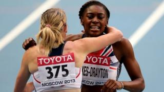 Eilidh Child and Perri Shakes-Drayton embrace