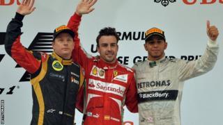 Raikkonen, Alonso and Hamilton