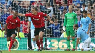 Fraizer Campbell (left) celebrates scoring for Cardiff