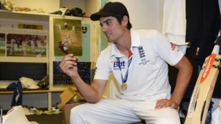 Alastair Cook has a moment alone with the replica urn after his first Ashes captaincy ends in a 3-0 win.