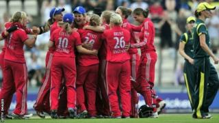 England women's cricket team celebrate Ashes win