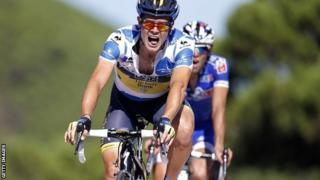 Ireland's Nicolas Roche finishing third on stage eight to take the overall lead in the Vuelta a Espana