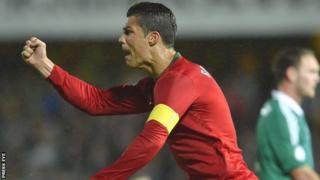 Ronaldo celebrates after scoring against NI