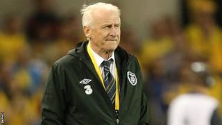 Giovanni Trapattoni watches his team suffer defeat against Sweden in the vital World Cup qualifier