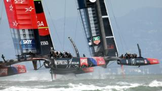 Team New Zealand (left) and Oracle Team USA (right) contest the 34th America's Cup