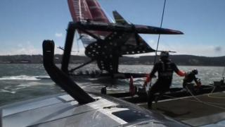 Team New Zealand nearly capsize in the America's Cup