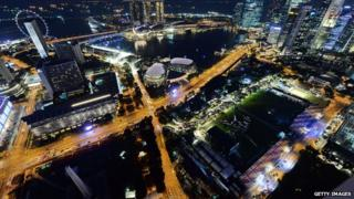 An overview from Swissotel Stanford shows the track for the upcoming Formula One Singapore Grand Prix