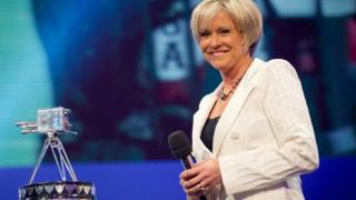 Sue Barker with Sports Personality trophy