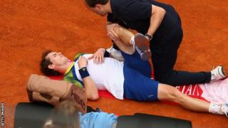 Andy Murray receiving treatment for a back problem in the Rome Masters