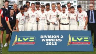 Lancashire celebrate the Division Two title